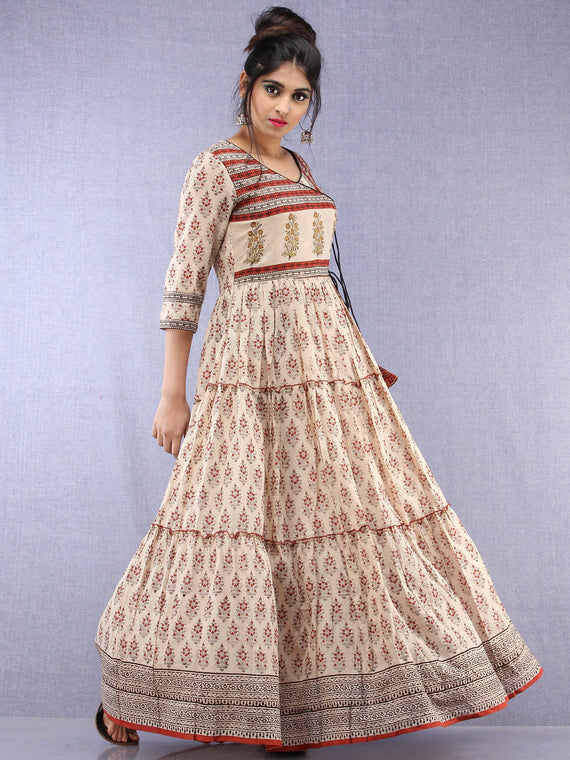 Naaz Mahira - Hand Block Printed Long Cotton Tiered Embroidered Angrakha Dress - DS89F001