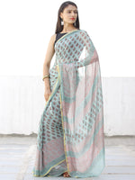 Pastel Green Coral Hand Block Printed Chiffon Saree with Zari Border - S031703968