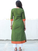Green Orange South Handloom Cotton Kurta With Embroidered Detailing - K154FXXX