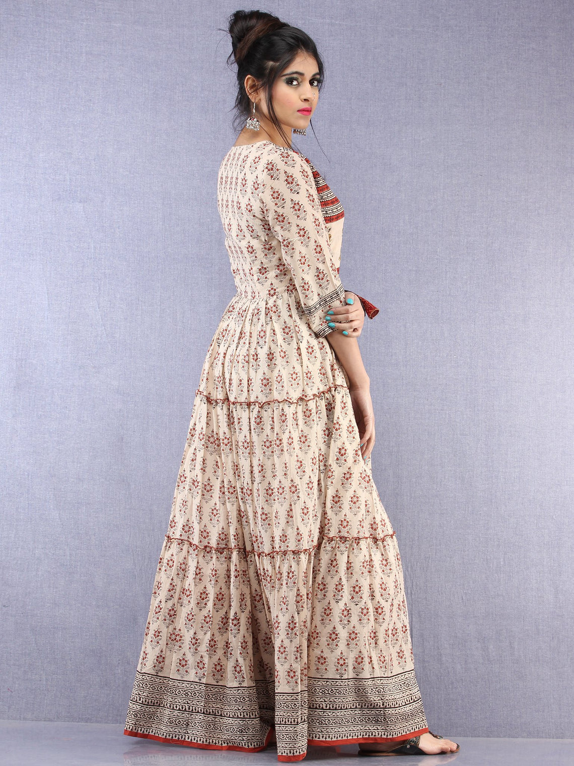 Mahira - Hand Block Printed Long Cotton Tiered Embroidered Angrakha Dress - DS89F001