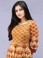 Naaz Mehran - Hand Block Mughal Printed Long Cotton Embroidered Dress - DS101F001