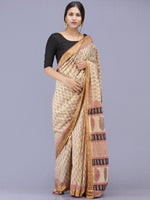 Beige Maroon Black Bagh Printed Maheshwari Cotton Saree - S031704177
