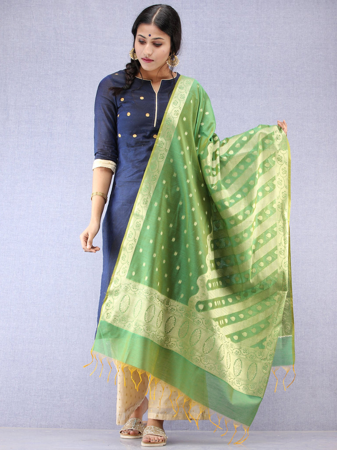 Banarasi Chanderi Dupatta With Resham Work - Green & Gold - D04170805