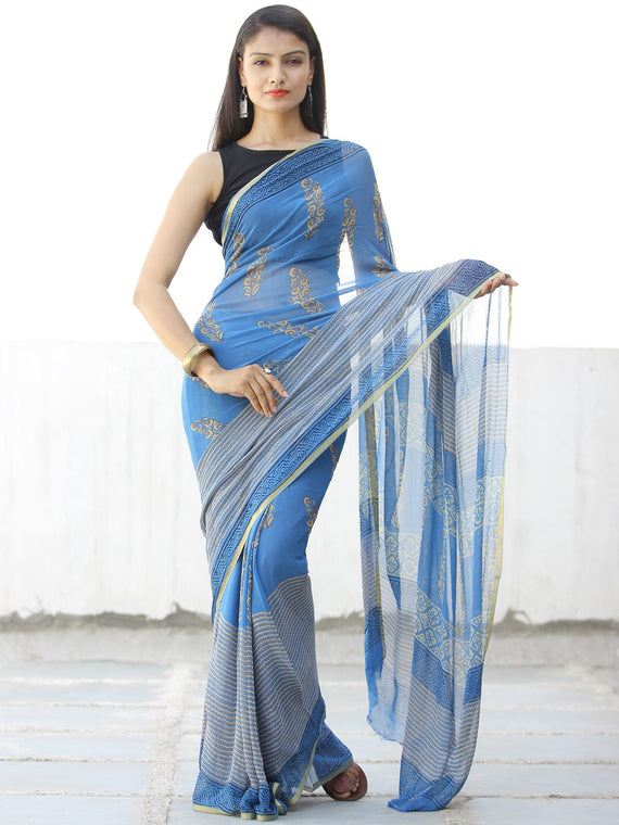 Blue Yellow Hand Block Printed Chiffon Saree with Zari Border - S031703970