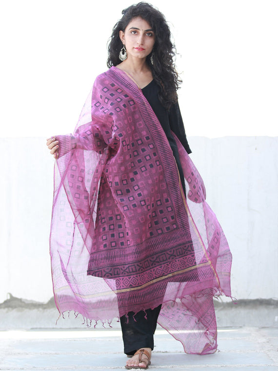 Onion Pink Black Kota Silk Hand Block Printed Dupatta - D04170461