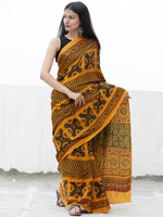 Gold Yellow Green Maroon Black Ajrakh Hand Block Printed Modal Silk Saree in Natural Colors - S031703708