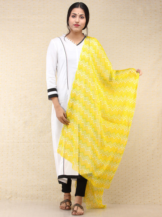 Yellow Green Georgette Hand Block Printed Dupatta  - D04170702
