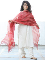 Cherry Red Ivory Kota Silk Hand Block Printed Dupatta - D04170645