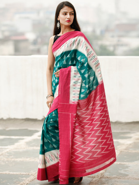Red White Green Ikat Handwoven Cotton Saree - S031704040