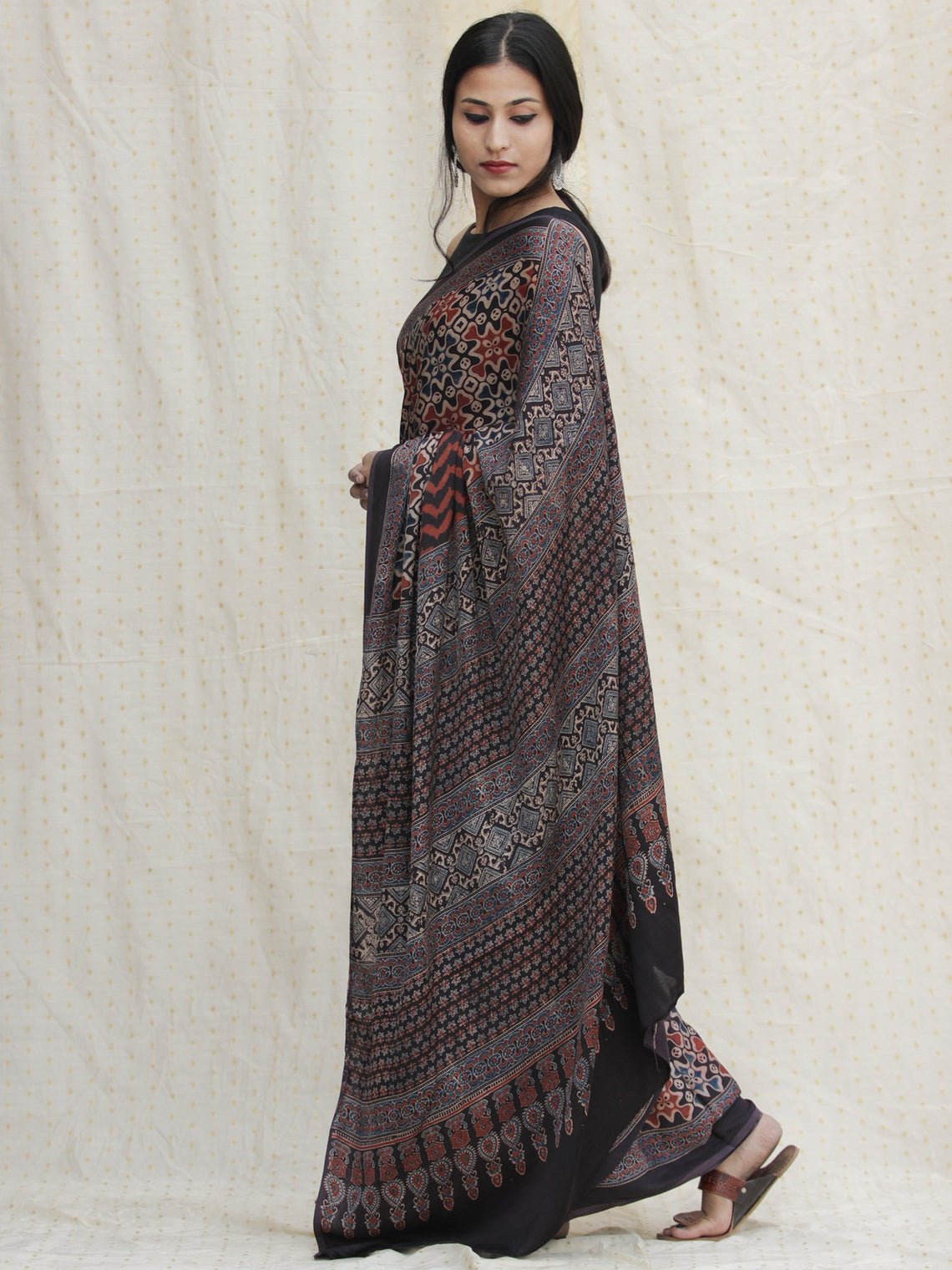 Charcoal Black Maroon Ivory  Ajrakh Hand Block Printed Modal Silk Saree - S031704128