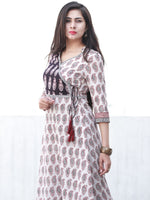 White Red Black Angrakha Style Bagh Printed Kurta in Natural Colors - K197F2068