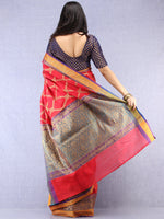 Banarasee Cotton Silk Saree With Zari Work - Crimson Red Purple & Gold - S031704395