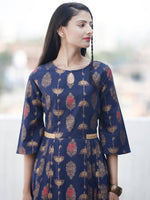 Indigo Gold - Hand Block Printed Cotton Long Dress  - D337FYYY