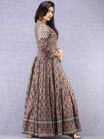 Naaz Shahra - Hand Block Printed Long Cotton Embroidered Angrakha Dress - DS99F001