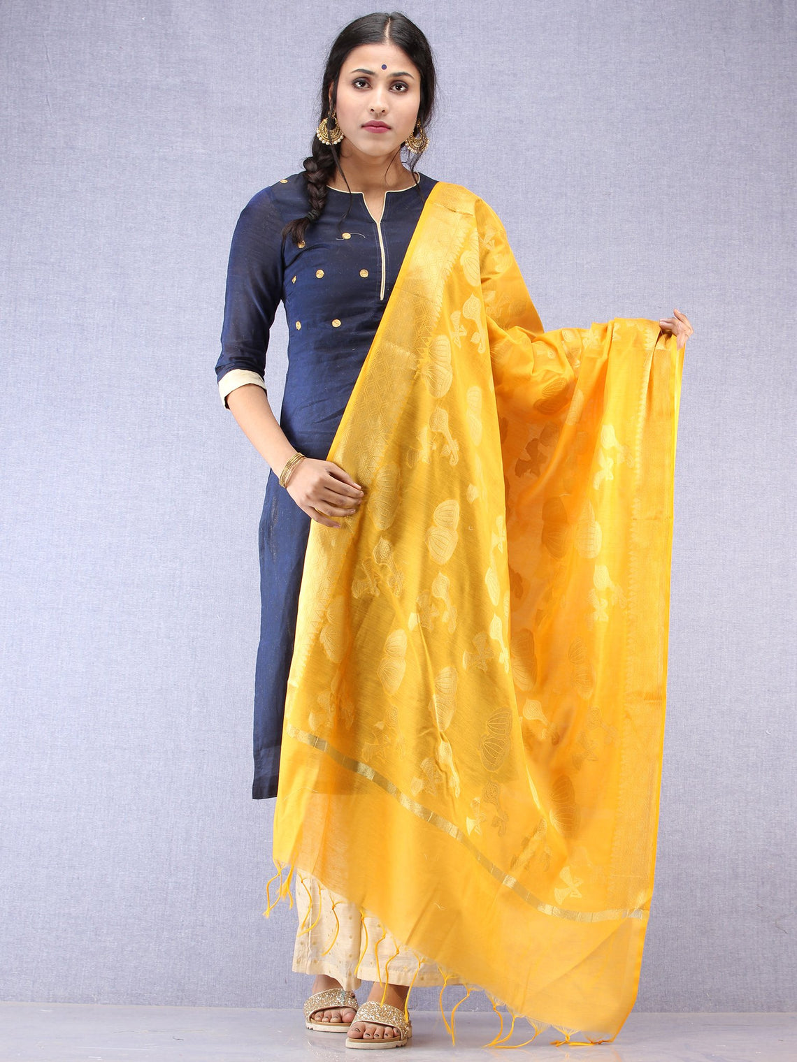 Banarasi Chanderi Dupatta With Zari Work - Bright Yellow & Gold - D04170806