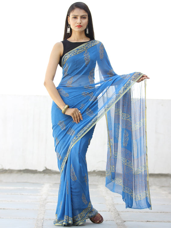 Blue Mustard Hand Block Printed Chiffon Saree with Zari Border - S031703967