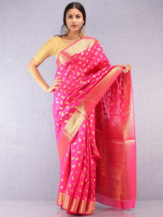 Banarasee Semi Silk Saree With Zari Work - Hot Pink & Gold - S031704370