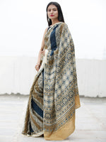 Beige Indigo Brown Black Ajrakh Hand Block Printed Modal Silk Saree in Natural Colors - S031703709