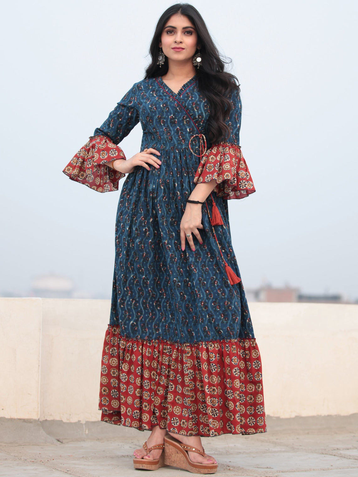 Indigo Red Hand Block Printed Angrakha Style Cotton Long Dress D464F2142