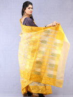 Banarasee Organza Saree With Zari & Resham Work - Ivory Pink & Gold  - S031704323