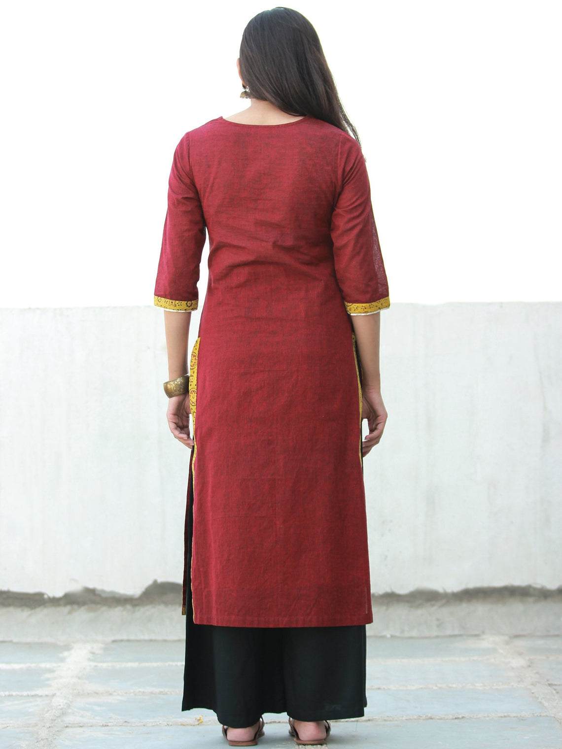 Maroon South Handloom Cotton Kurta With Ajrakh & Gotta Detailing  - K153FXXX