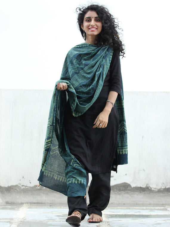 Deep Indigo Green Cotton Hand Block Printed Dupatta   - D04170412