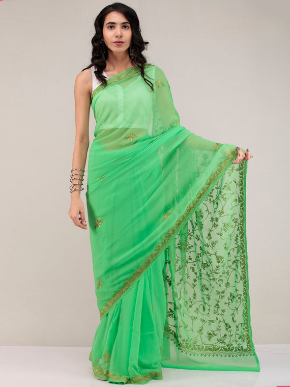 Green Aari Embroidered Georgette Saree From Kashmir - S031704640