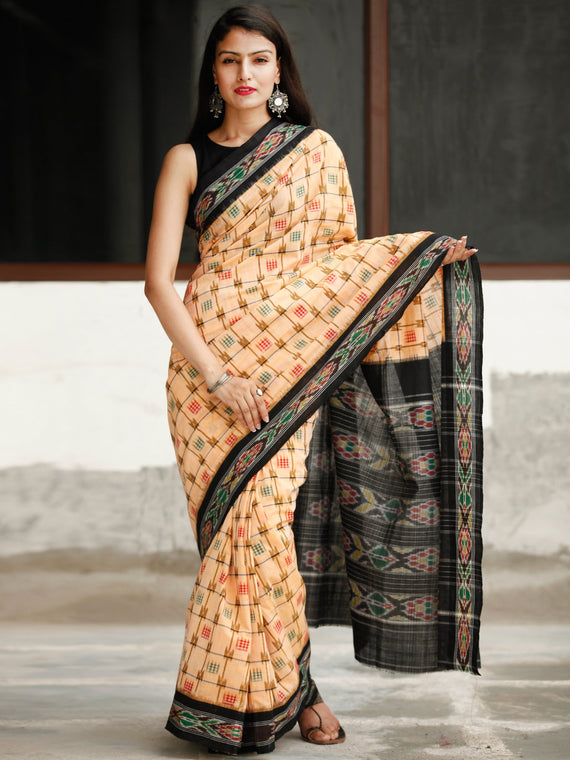 Ivory Black Ikat Handwoven Cotton Saree - S031704042