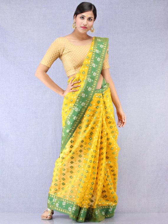 Banarasee Organza Saree With Zari & Resham Weave - Yellow Green & Gold  - S031704324