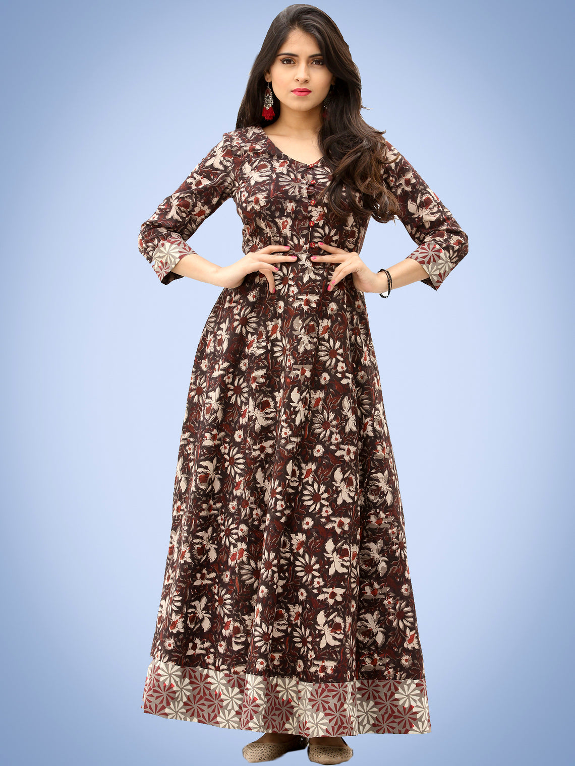 Nazmin - Hand Block Printed Long Cotton Dress With Back Knots  - D162F1384