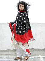 Black Red White Double Ikat Handwoven Pochampally Cotton Dupatta -  D04170314