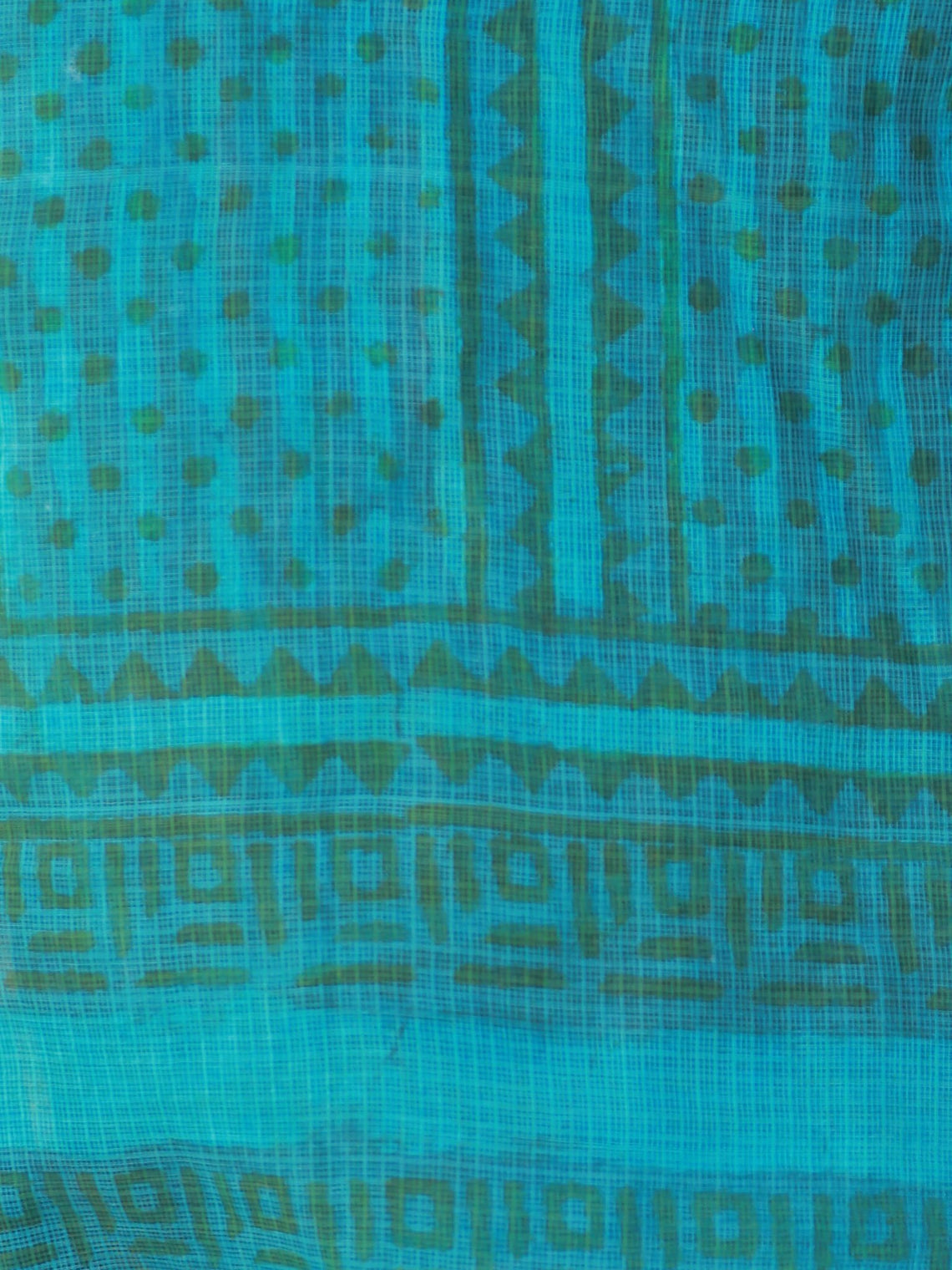 Teal Green Blue Kota Silk Hand Block Printed Dupatta - D04170463