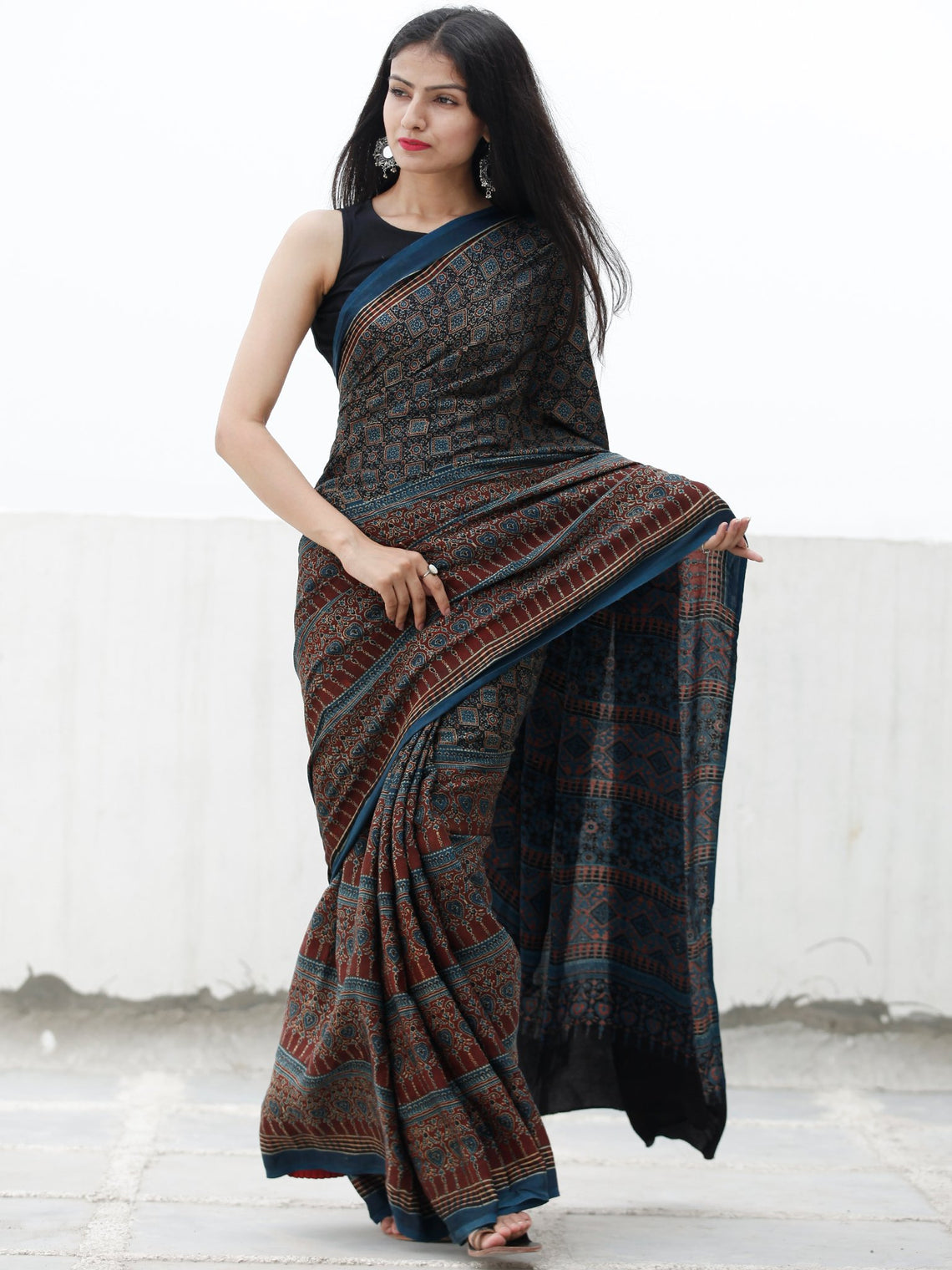 780b6c254d85c Indigo Black Rust Beige Ajrakh Hand Block Printed Modal Silk Saree in Natural  Colors - S031703710 ...