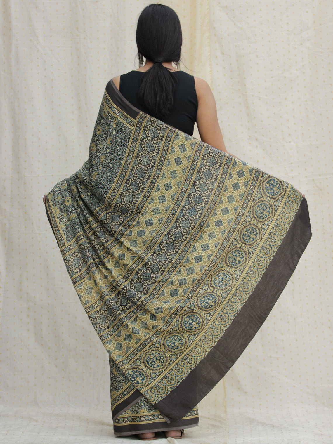 Charcoal Black Indigo Olive Green Ajrakh Hand Block Printed Modal Silk Saree - S031704130
