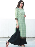 Sage Green Hand Embroidered South Handloom Cotton Kurta With Ajrakh Patch   - K133FXXX