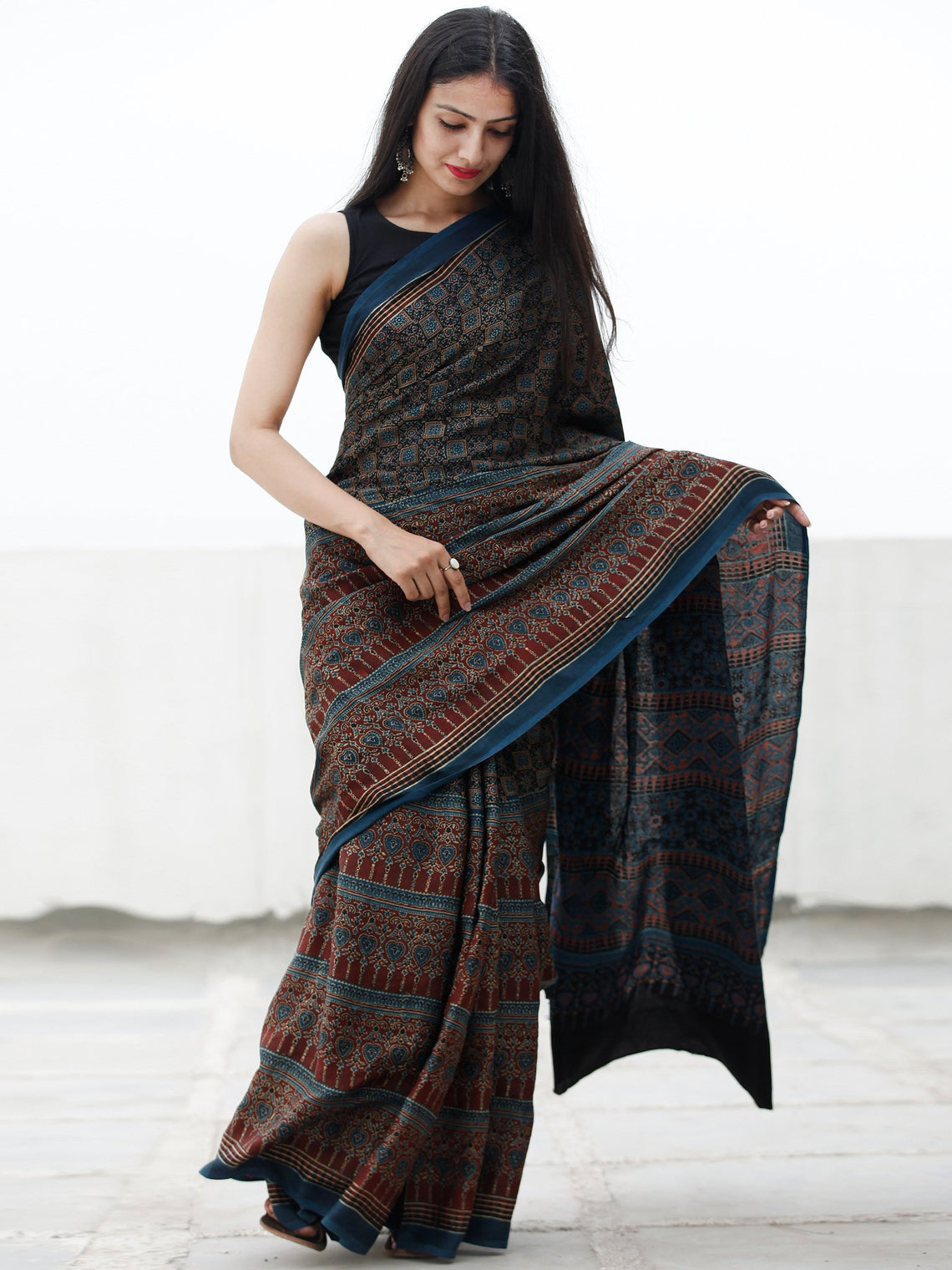 Indigo Black Rust Beige Ajrakh Hand Block Printed Modal Silk Saree in Natural Colors - S031703710