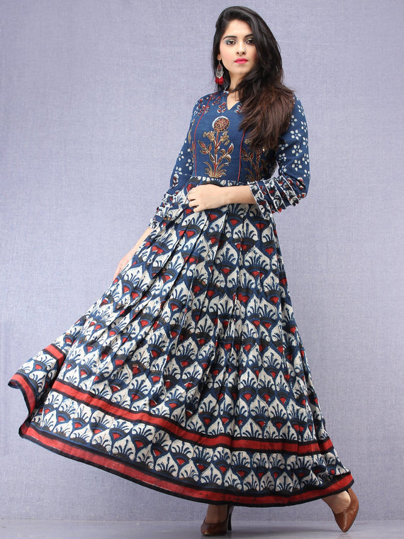 Mawara - Hand Block Printed & Embroidered Long Cotton Box Pleated Dress - DS96F001