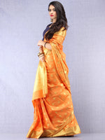 Banarasee Semi Silk Saree With  Golden Zari Work -  Light Orange Golden  - S031704394