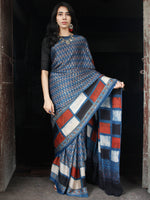 Indigo Black White Brick Red Ajrakh Hand Block Printed Modal Silk Saree in Natural Colors - S031703511