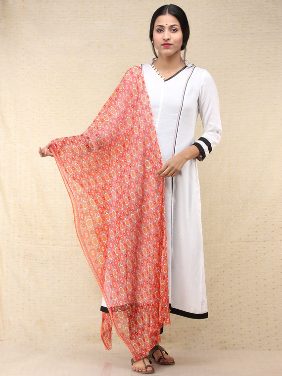 Coral Blue Ivory Georgette Hand Block Printed Dupatta  - D04170687