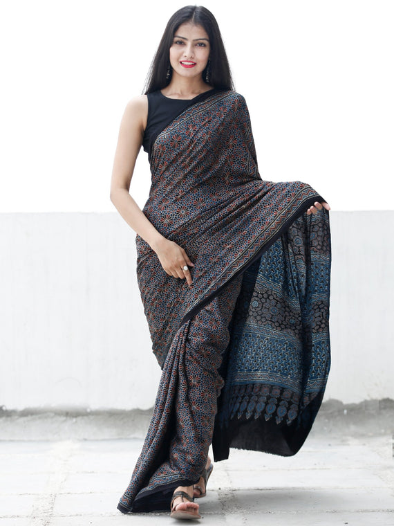Indigo Black Maroon Ivory Ajrakh Hand Block Printed Modal Silk Saree in Natural Colors - S031703694