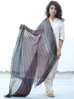 Black Red Grey Kota Silk Hand Block Printed Dupatta - D04170629
