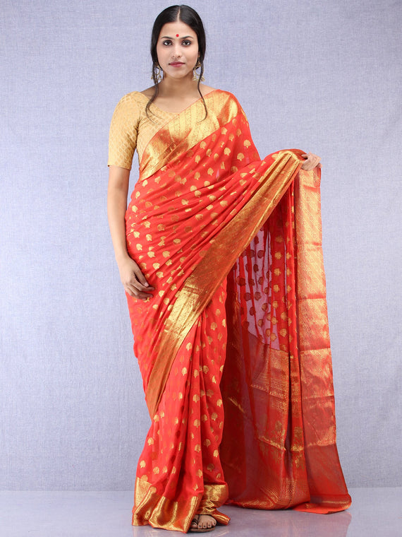 Banarasee Chiffon Saree With Golden Zari Weave - Red & Gold - S031704355