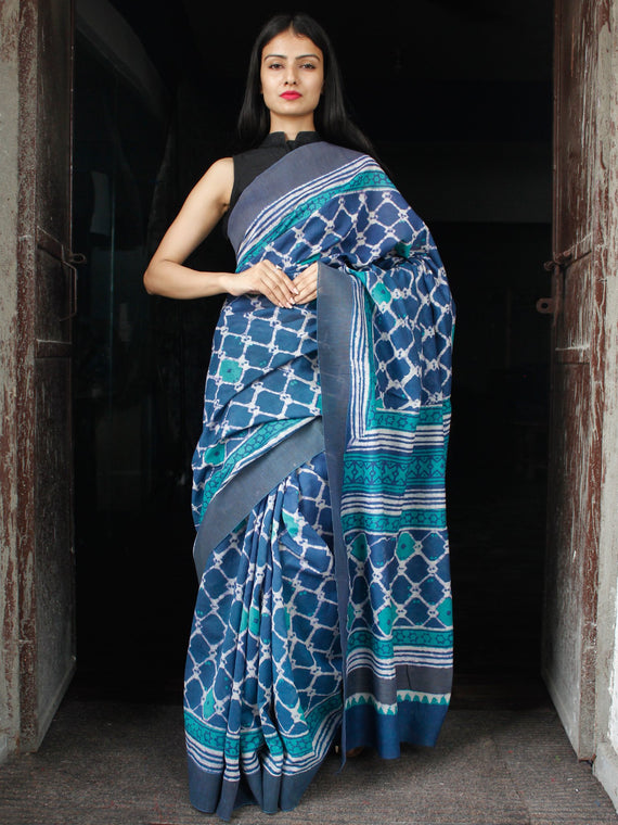 Indigo Green White Chanderi Silk Hand Block Printed Saree With Geecha Border - S031703981
