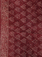 Cherry Red Beige Kota Doria Cotton Hand Block Printed Dupatta  - D04170168