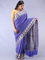 Banarasee Pure Chiffon Saree With Zari Work - Royal Blue Silver - S031704308