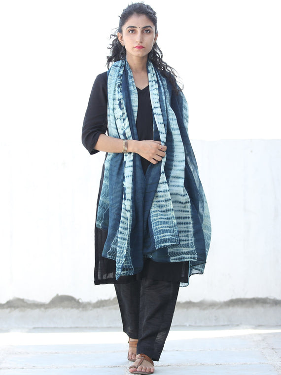 Deep Indigo White Shibori Cotton Hand Block Printed Dupatta  - D04170442