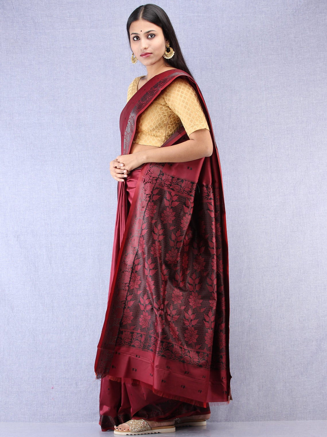 Banarasee Art Silk Saree - Wine Red Black - S031704378