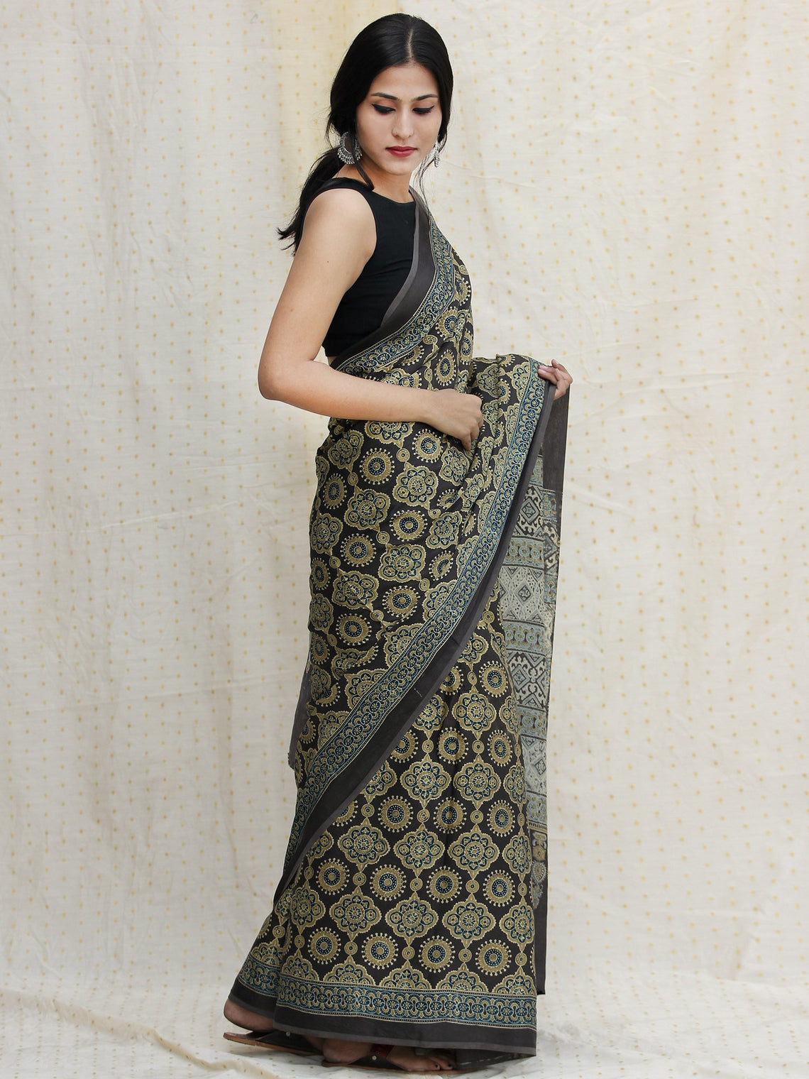 Charcoal Black Olive Green Ivory Ajrakh Hand Block Printed Modal Silk Saree - S031704115