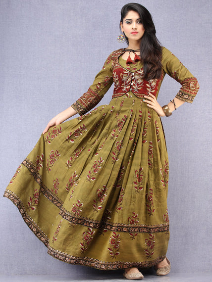 Naaz Maham - Hand Block Printed & Embroidered Long Cotton Box Pleated Dress With Tassels - DS95F001